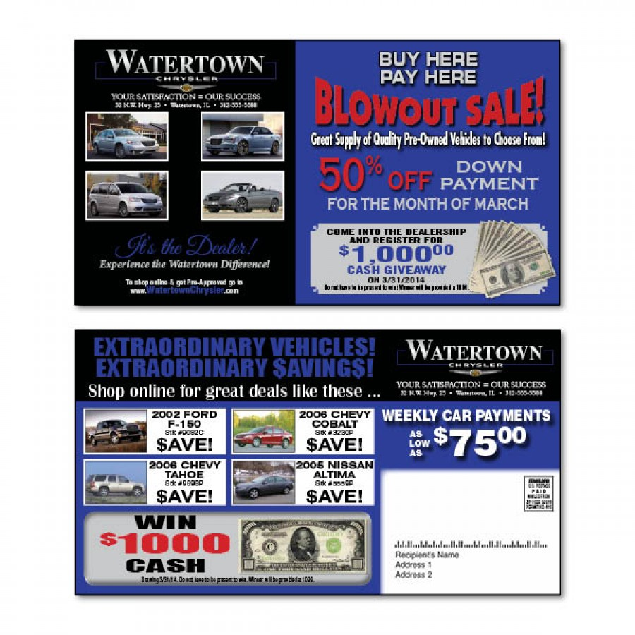 6 x 11 Automotive Direct Mail Plastic Postcards with Pop-out Plastic ...